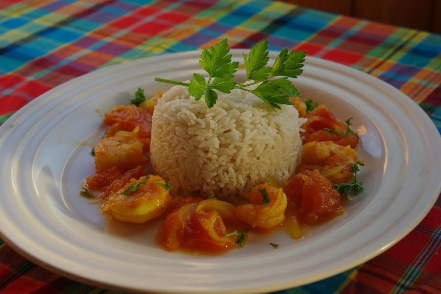 Curry De Crevette accompagner de Riz Blanc