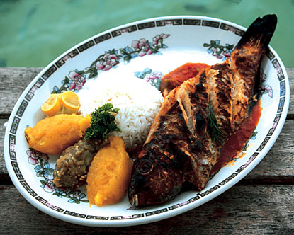 Grilled fish, Rice and various Chutneys