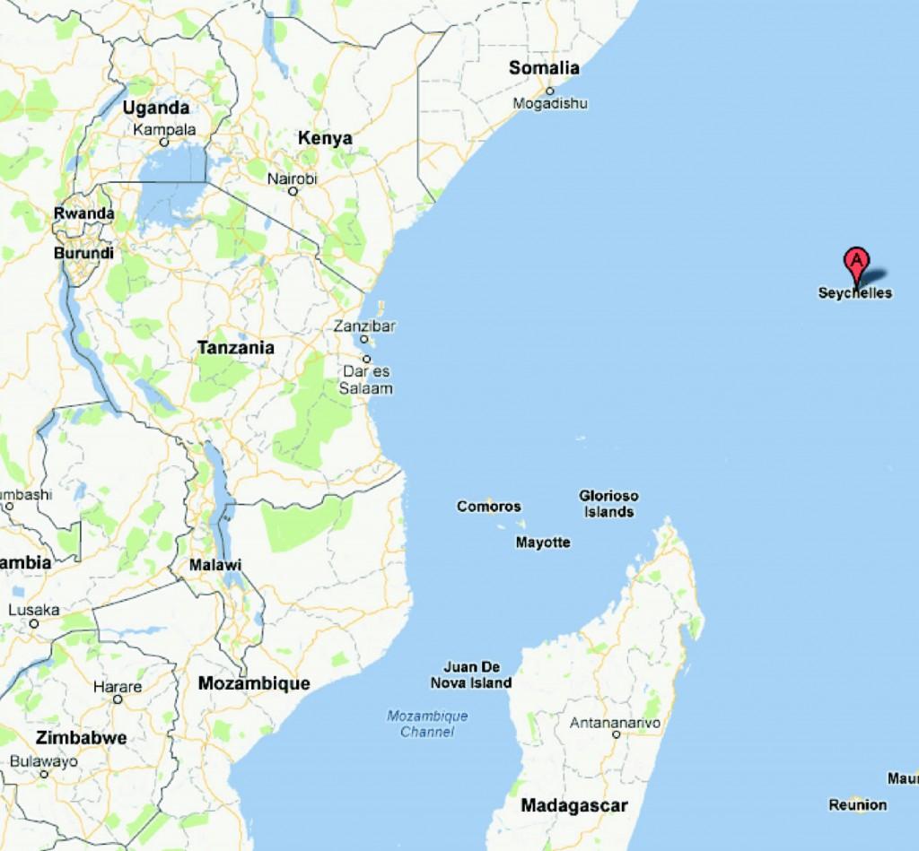 Seychelles on a map