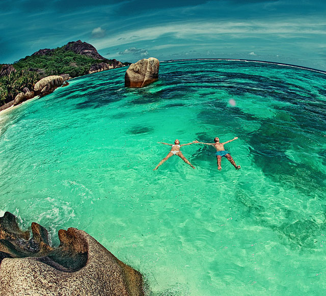 Swimming together in Seychelles Lagoon