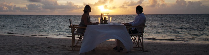 Dinner at sunset in Seychelles