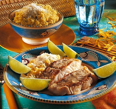 Fish lime and Coconut rice