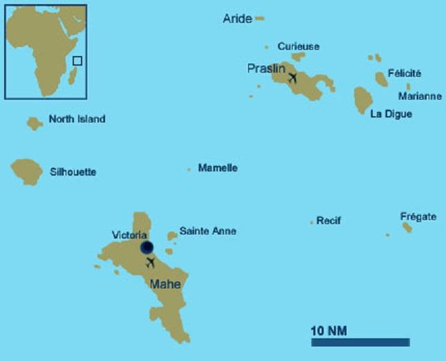 Carte île Curieuse : Seychelles