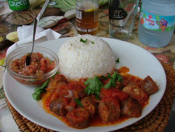 """Rougail Saussice"" accompanied with rice"