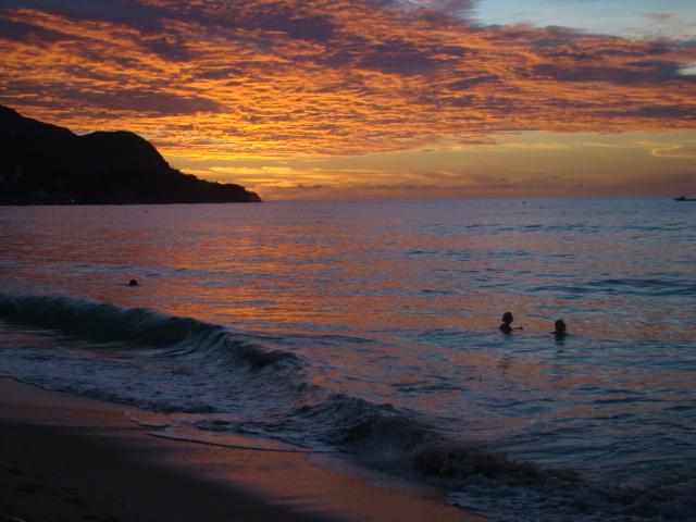 Beau Vallon beach sunset in Seychelles