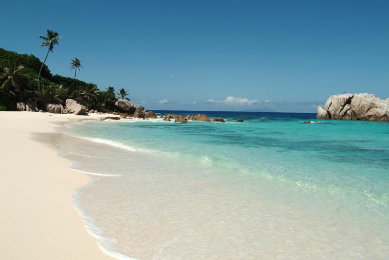 Cousine island beach in Seychelles
