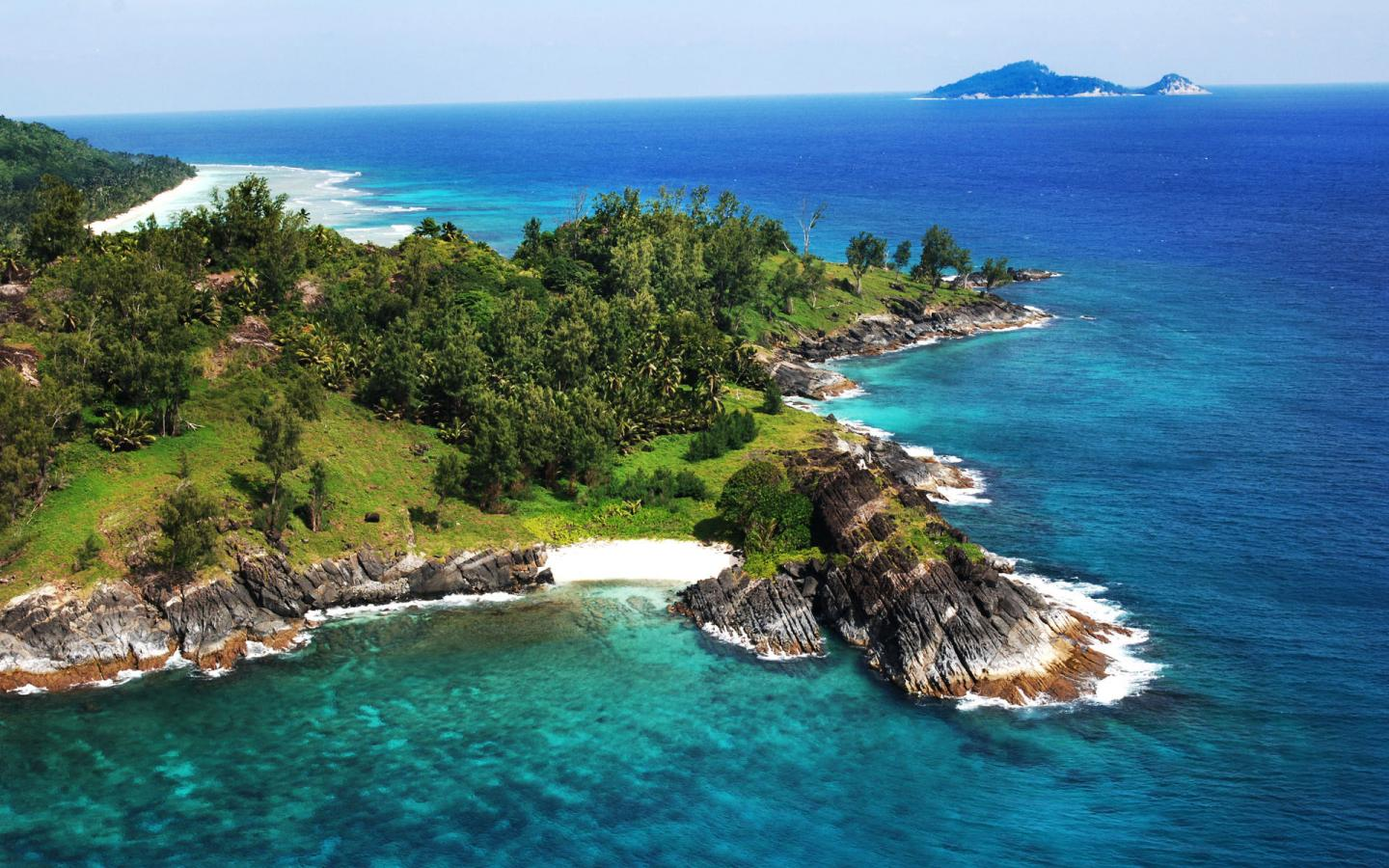 Top view of silhouette island seychelles