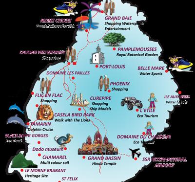 Trip to Mauritius- Map of Mauritius