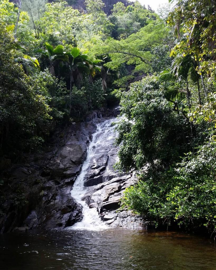 The Seychelles waterfalls