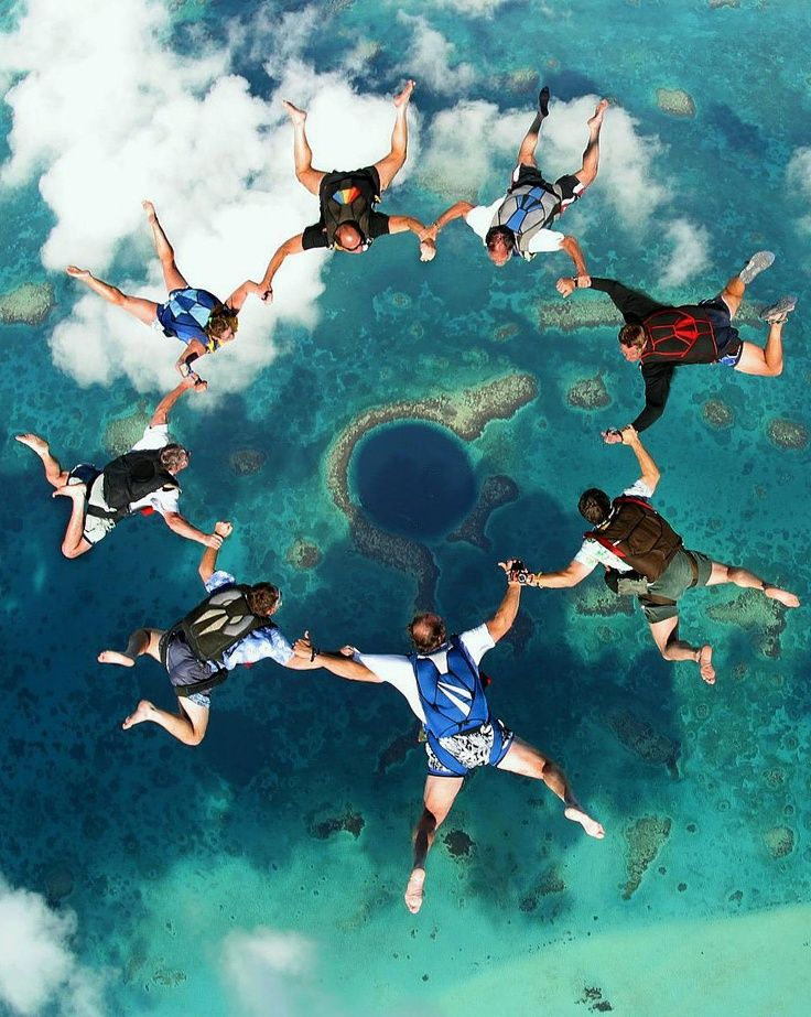 Parachute jumping in Indian Ocean