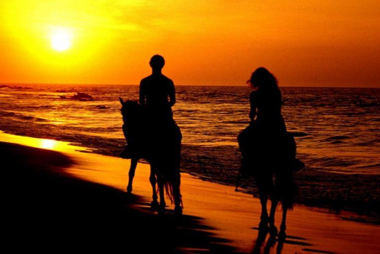 Horse riding Seychelles sunset