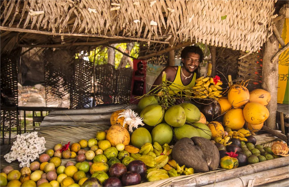 Fruit seller in Seychelles