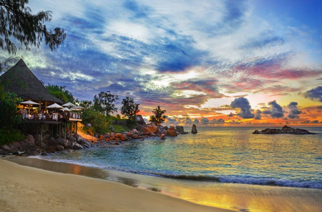 Beach restaurant Praslin sunset
